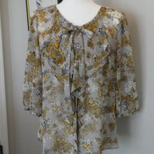 Elle - Semi-Sheer Gray, Gold & White Floral Top